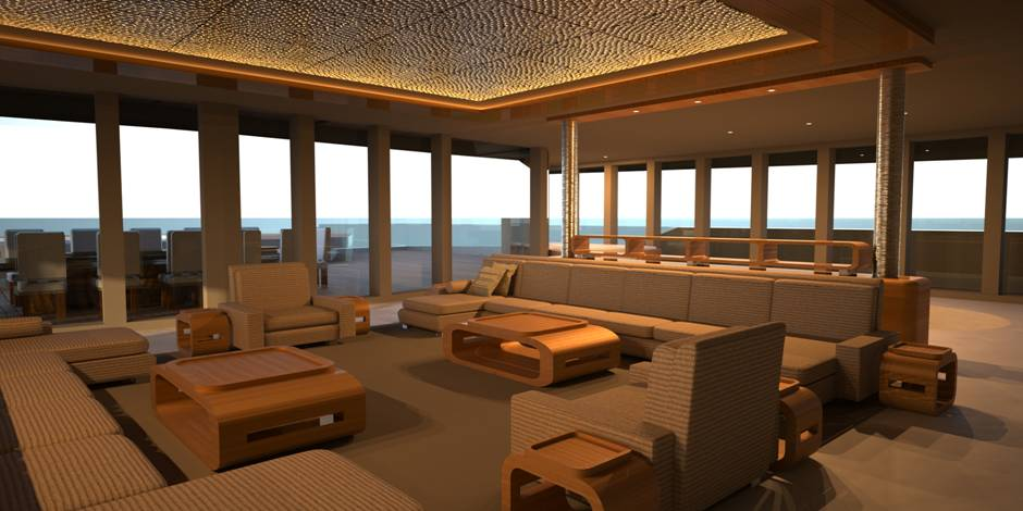 Internal space design on yacht